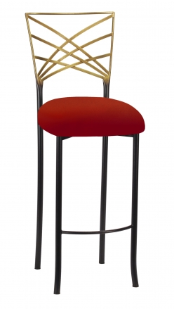 Two Tone Fanfare Barstool with Red Velvet Cushion (2)