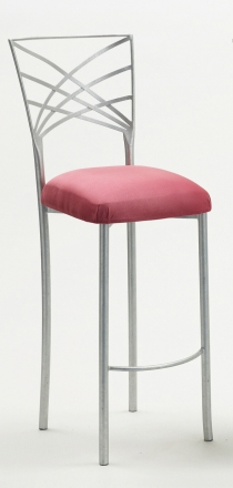 Silver Fanfare Barstool with Raspberry Suede Cushion (2)