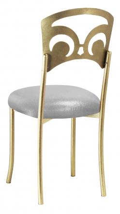 Gold Fleur de Lis with Metallic Silver Stretch Knit Cushion (1)