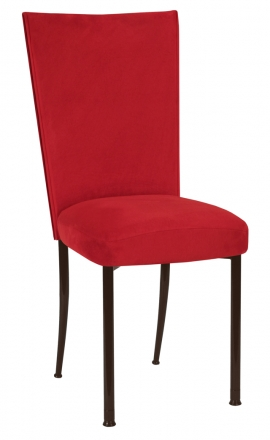 Rhino Red Suede Chair Cover and Cushion on Brown Legs (2)