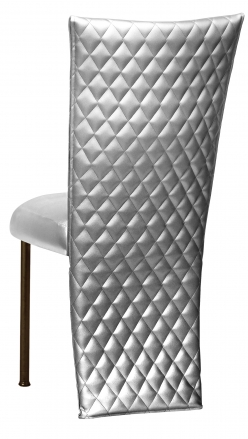 Silver Quilted Leatherette Jacked and Boxed Cushion on Brown Legs (1)