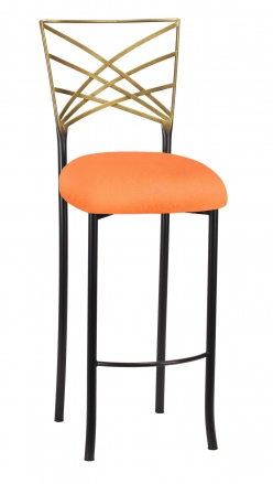 Two Tone Fanfare Barstool with Tangerine Stretch Knit Cushion (2)