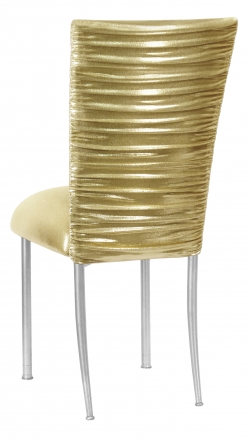 Chloe Metallic Gold Stretch Knit Chair Cover and Cushion on Silver Legs (1)