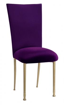 Purple Diamond Tufted Taffeta Chair Cover with Deep Purple Velvet Cushion on Gold Legs (2)