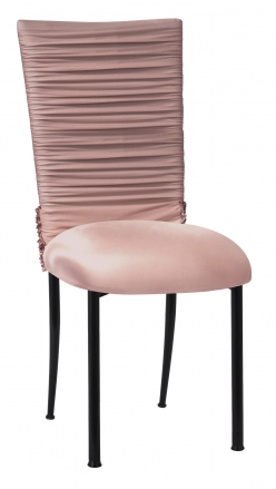 Chloe Blush Chair Cover with Bedazzle Band and Blush Stretch Knit Cushion on Black Legs (2)