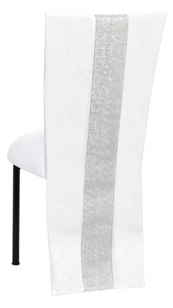 White Suede Jacket with Rhinestone Center and Cushion on Black Legs (1)