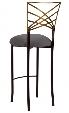 Two Tone Gold Fanfare Barstool with Charcoal Suede Cushion (1)
