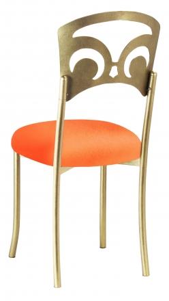 Gold Fleur de Lis with Tangerine Stretch Knit Cushion (1)