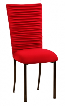 Chloe Million Dollar Red Stretch Knit Chair Cover and Cushion on Brown Legs (2)