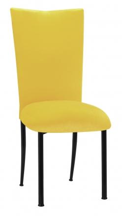 Sunshine Yellow Velvet Chair Cover and Cushion on Black Legs (2)