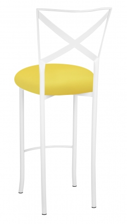 Simply X White Barstool with Bright Yellow Stretch Knit Cushion (1)