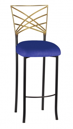 Two Tone Fanfare Barstool with Royal Blue Knit Cushion (2)