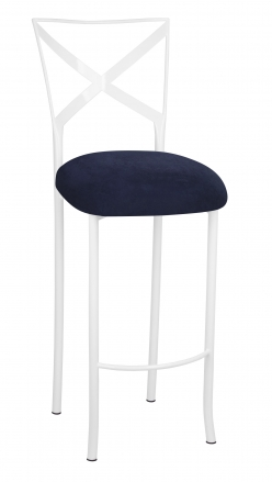 Simply X White Barstool with Navy Blue Suede Cushion (2)