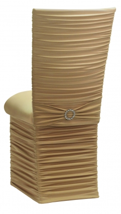Chloe Gold Stretch Knit Chair Cover with Jewel Band, Cushion and Skirt (1)