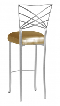 Silver Fanfare Barstool with Gold Leatherette Boxed Cushion (1)