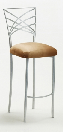 Silver Fanfare Barstool with Camel Suede Cushion (2)