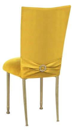 Canary Suede Chair Cover with Jewel Belt and Cushion on Gold Legs (1)