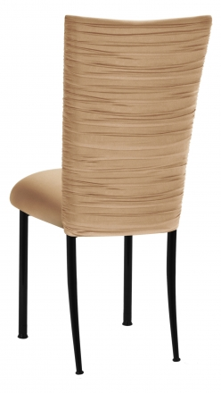 Chloe Beige Stretch Knit Chair Cover and Cushion on Black Legs (1)