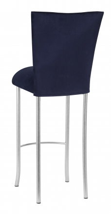 Navy Blue Suede Barstool Cover and Cushion on Silver Legs (1)