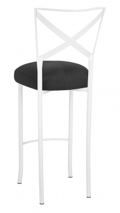Simply X White Barstool with Charcoal Linette Boxed Cushion (1)