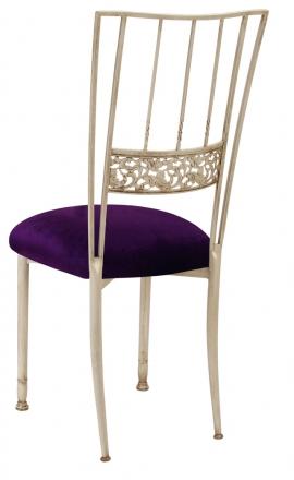 Ivory Bella Fleur with Deep Purple Velvet Cushion (1)