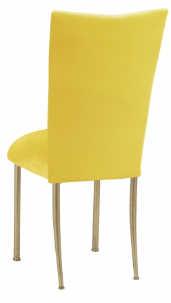 Sunshine Yellow Velvet Chair Cover and Cushion on Gold Legs (1)