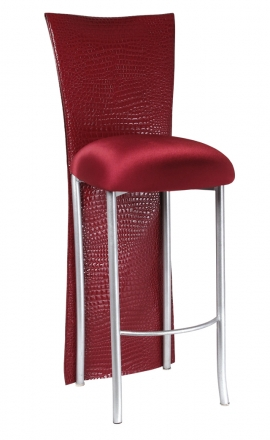 Red Croc Barstool Jacket with Cranberry Stretch Knit Cushion on Silver Legs (2)