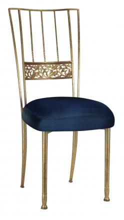 Gold Bella Fleur with Midnight Blue Taffeta Boxed Cushion (2)