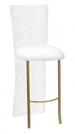 White Wedding Lace Barstool Jacket with White Knit Cushion on Gold Legs (2)