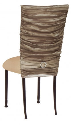 Beige Demure Chair Cover with Jeweled Band and Beige Stretch Knit Cushion on Mahogany Legs (1)