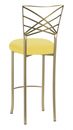 Gold Fanfare Barstool with Bright Yellow Velvet Cushion (1)