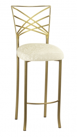 Gold Fanfare Barstool with Victoriana Boxed Cushion (2)