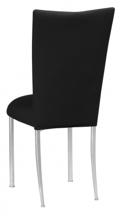 Black Velvet Chair Cover and Cushion on Silver Legs (1)
