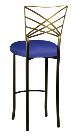 Two Tone Fanfare Barstool with Royal Blue Knit Cushion (1)