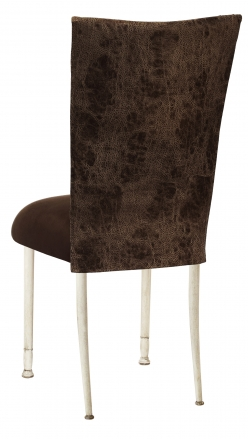 Durango Chocolate Leatherette with Chocolate Suede Cushion on Ivory Legs (1)