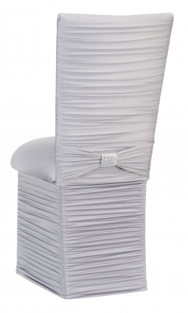 Chloe Silver Stretch Knit Chair Cover with Rhinestone Accent Band, Cushion and Skirt (1)