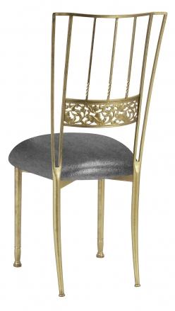 Gold Bella Fleur with Gunmetal Stretch Knit Cushion (1)