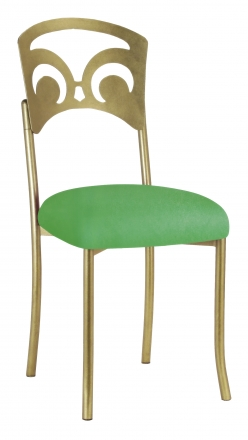 Gold Fleur de Lis with Kelly Green Stretch Knit Cushion (2)