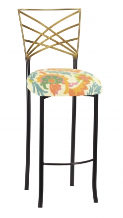 Two Tone Fanfare Barstool with Floral Bloom Boxed Cushion (2)