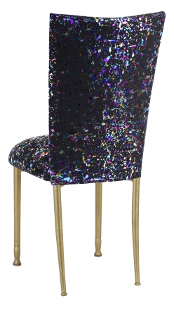 Black Paint Splatter Chair Cover and Cushion on Gold Legs (1)