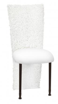 White Wedding Lace Jacket with White Stretch Knit Cushion on Mahogany Legs (2)