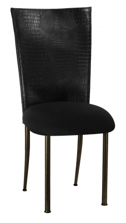 Matte Black Croc Chair Cover with Black Stretch Knit Cushion on Brown Legs (2)