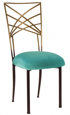 Two Tone Gold Fanfare with Turquoise Velvet Cushion (2)