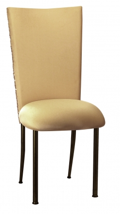 Gold Bedazzled Chair Cover with Gold Stretch Knit Cushion on Brown Legs (2)
