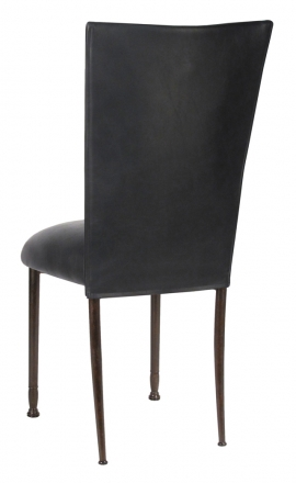 Black Leatherette Chair Cover and Cushion on Mahogany Legs (1)