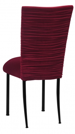 Chloe Cranberry Velvet Chair Cover and Cushion on Black Legs (1)