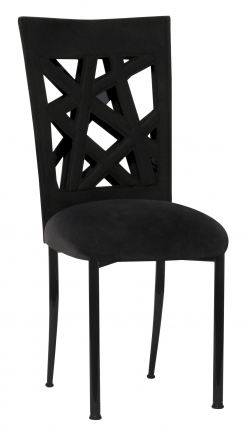 Geometric Chair Cover with Black Suede Cushion on Black Legs (2)