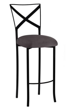 Blak. Barstool with Charcoal Suede Cushion (2)