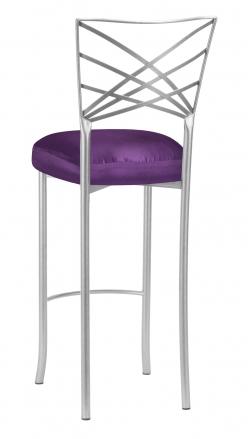 Silver Fanfare Barstool with Purple Taffeta Boxed Cushion (1)
