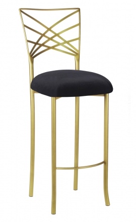 Gold Fanfare Barstool with Black Velvet Cushion (2)
